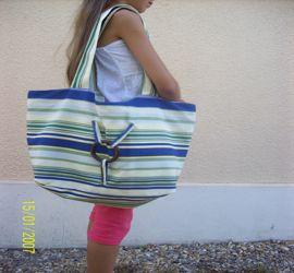 sac plage rayé